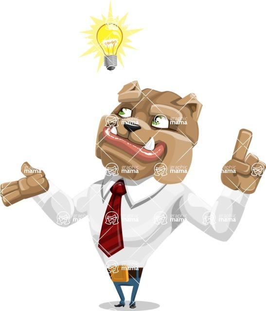Bulldog Businessman Cartoon Vector Character AKA Bruce Bulldogge - Idea 2