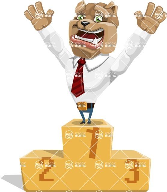 Bulldog Businessman Cartoon Vector Character AKA Bruce Bulldogge - On Top