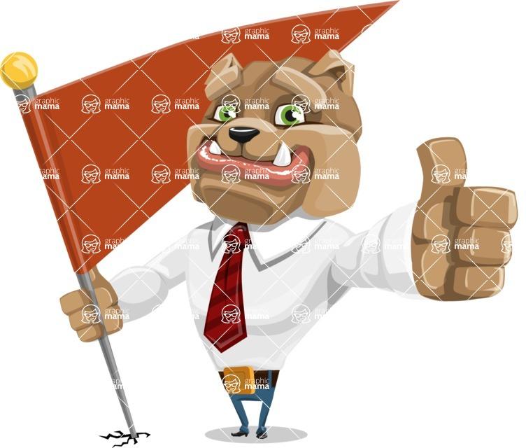 Bulldog Businessman Cartoon Vector Character AKA Bruce Bulldogge - Checkpoint