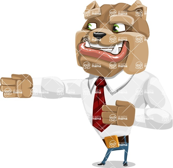 Bulldog Businessman Cartoon Vector Character AKA Bruce Bulldogge - Show 2