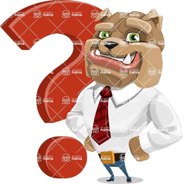 Bulldog Businessman Cartoon Vector Character AKA Bruce Bulldogge - Question