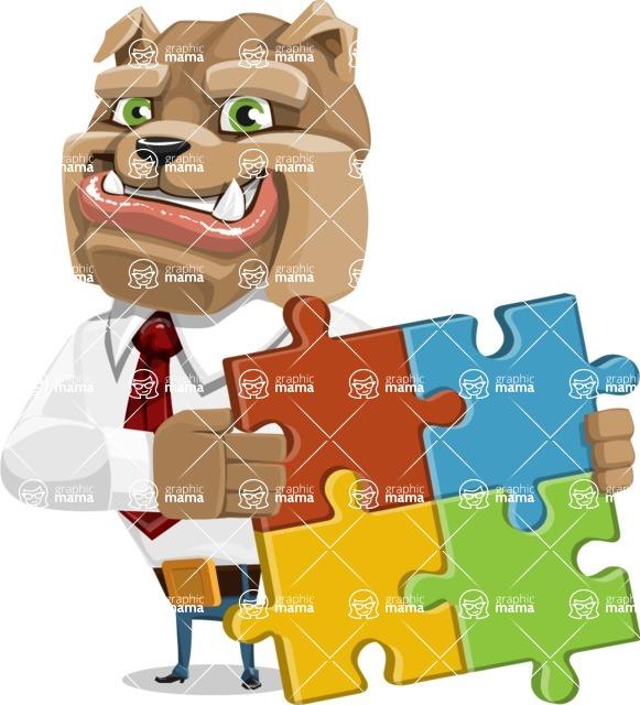 Bulldog Businessman Cartoon Vector Character AKA Bruce Bulldogge - Puzzle