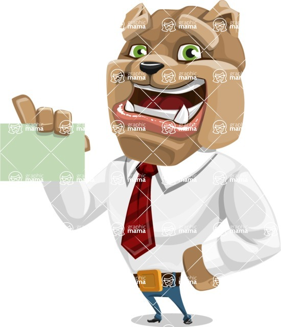 Bulldog Businessman Cartoon Vector Character AKA Bruce Bulldogge - Sign 1
