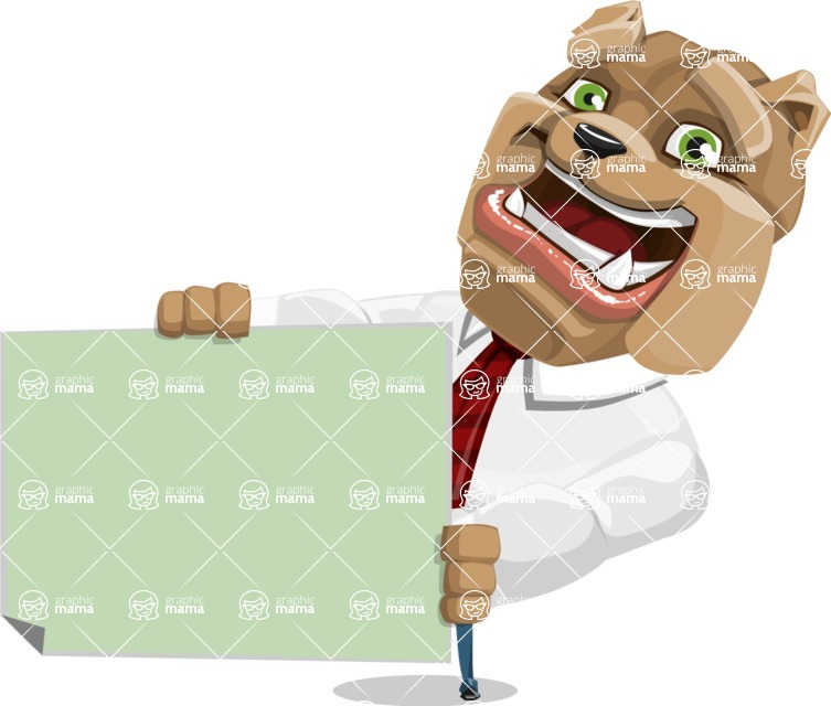 Bulldog Businessman Cartoon Vector Character AKA Bruce Bulldogge - Sign 4