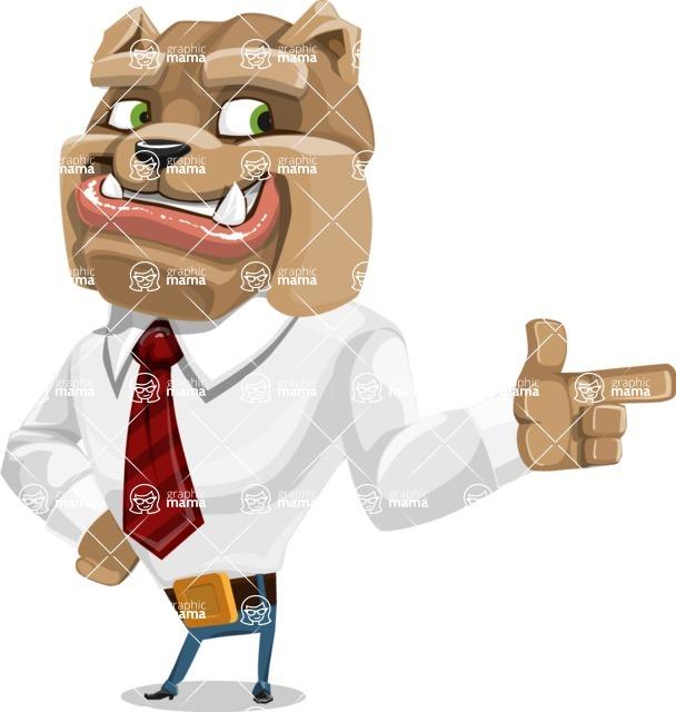 Bulldog Businessman Cartoon Vector Character AKA Bruce Bulldogge - Point