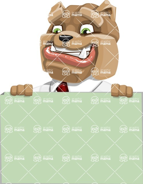 Bulldog Businessman Cartoon Vector Character AKA Bruce Bulldogge - Sign 6
