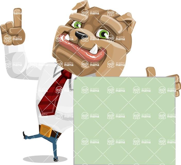 Bulldog Businessman Cartoon Vector Character AKA Bruce Bulldogge - Sign 7