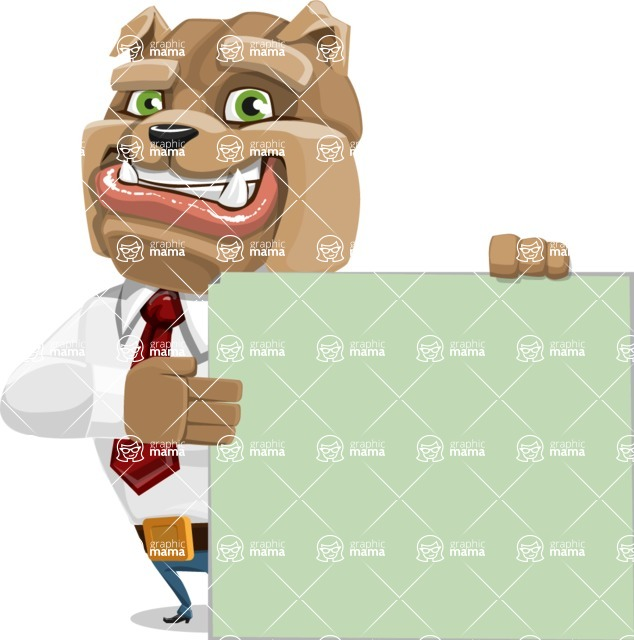Bulldog Businessman Cartoon Vector Character AKA Bruce Bulldogge - Sign 8