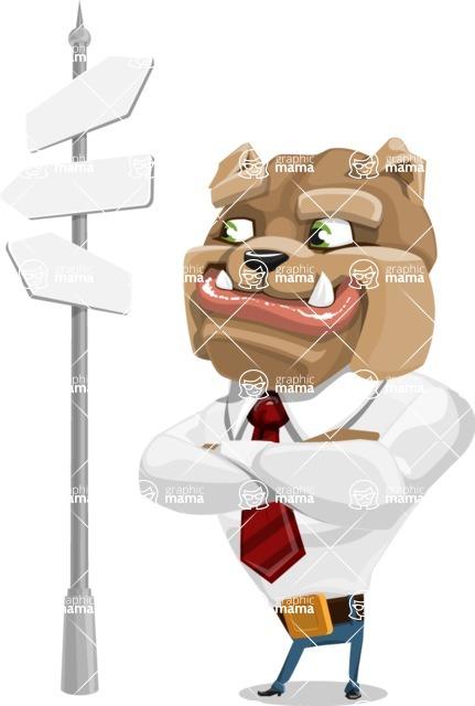 Bulldog Businessman Cartoon Vector Character AKA Bruce Bulldogge - Crossroad