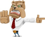Bulldog Businessman Cartoon Vector Character AKA Bruce Bulldogge - Direct Attention 2