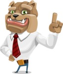 Bulldog Businessman Cartoon Vector Character AKA Bruce Bulldogge - Attention
