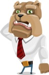 Bulldog Businessman Cartoon Vector Character AKA Bruce Bulldogge - Confused