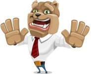 Bulldog Businessman Cartoon Vector Character AKA Bruce Bulldogge - Hello