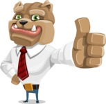 Bulldog Businessman Cartoon Vector Character AKA Bruce Bulldogge - Thumbs Up