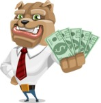 Bulldog Businessman Cartoon Vector Character AKA Bruce Bulldogge - Show me the Money