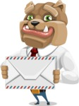 Bulldog Businessman Cartoon Vector Character AKA Bruce Bulldogge - Letter
