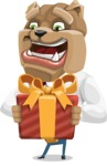 Bulldog Businessman Cartoon Vector Character AKA Bruce Bulldogge - Gift