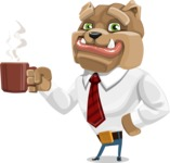 Bulldog Businessman Cartoon Vector Character AKA Bruce Bulldogge - Coffee