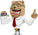 Bulldog Businessman Cartoon Vector Character AKA Bruce Bulldogge - Calculator