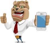 Bulldog Businessman Cartoon Vector Character AKA Bruce Bulldogge - iPhone