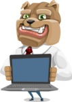 Bulldog Businessman Cartoon Vector Character AKA Bruce Bulldogge - Laptop 2