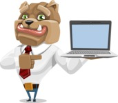 Bulldog Businessman Cartoon Vector Character AKA Bruce Bulldogge - Laptop 3