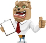 Bulldog Businessman Cartoon Vector Character AKA Bruce Bulldogge - Notepad 1