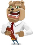 Bulldog Businessman Cartoon Vector Character AKA Bruce Bulldogge - Notepad 3