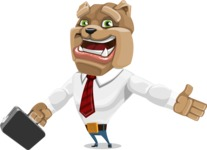 Bulldog Businessman Cartoon Vector Character AKA Bruce Bulldogge - Briefcase 1