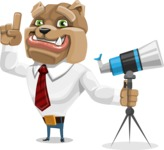 Bulldog Businessman Cartoon Vector Character AKA Bruce Bulldogge - Telescope