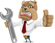 Bulldog Businessman Cartoon Vector Character AKA Bruce Bulldogge - Repair