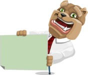 Bulldog Businessman Cartoon Vector Character AKA Bruce Bulldogge - Sign 4