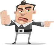Chubby Businessman Cartoon Vector Character AKA Hank - Direct Attention