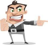 Chubby Businessman Cartoon Vector Character AKA Hank - Direct Attention 2