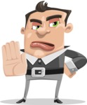 Chubby Businessman Cartoon Vector Character AKA Hank - Stop