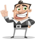 Chubby Businessman Cartoon Vector Character AKA Hank - Attention