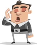 Chubby Businessman Cartoon Vector Character AKA Hank - Bored