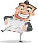 Chubby Businessman Cartoon Vector Character AKA Hank - Letter