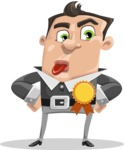 Chubby Businessman Cartoon Vector Character AKA Hank - Ribbon