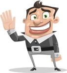 Chubby Businessman Cartoon Vector Character AKA Hank - Wave