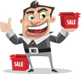 Chubby Businessman Cartoon Vector Character AKA Hank - Sale
