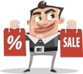 Chubby Businessman Cartoon Vector Character AKA Hank - Sale2