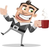 Chubby Businessman Cartoon Vector Character AKA Hank - Coffee