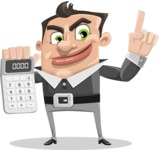 Chubby Businessman Cartoon Vector Character AKA Hank - Calculator