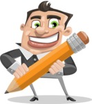 Chubby Businessman Cartoon Vector Character AKA Hank - Pencil