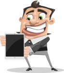 Chubby Businessman Cartoon Vector Character AKA Hank - iPad 1