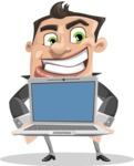 Chubby Businessman Cartoon Vector Character AKA Hank - Laptop 2