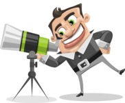 Chubby Businessman Cartoon Vector Character AKA Hank - Telescope