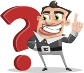 Chubby Businessman Cartoon Vector Character AKA Hank - Question