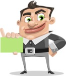 Chubby Businessman Cartoon Vector Character AKA Hank - Sign 1